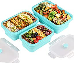 Silicone Lunch Box Portable Bowl Colorful Folding Food Container Lunchbox 350/500/800/1200ml Eco-friendly Blue 350ml