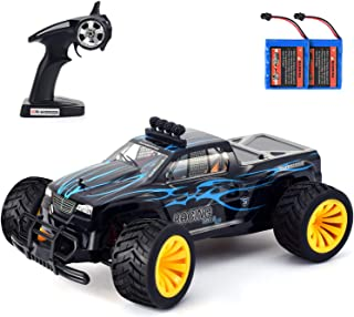 Geburun Remote Control Car - Newest 2.4 GHz High Speed RC Car 1/16 Scale Off Road RC Truck with Two Rechargeable Batteries, High Speed Monster Truck Racing Toy Car for Adults & Kids