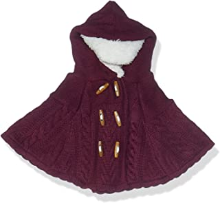Giggles Front Buttons Fur Trim Hood Knitted Poncho for Girls