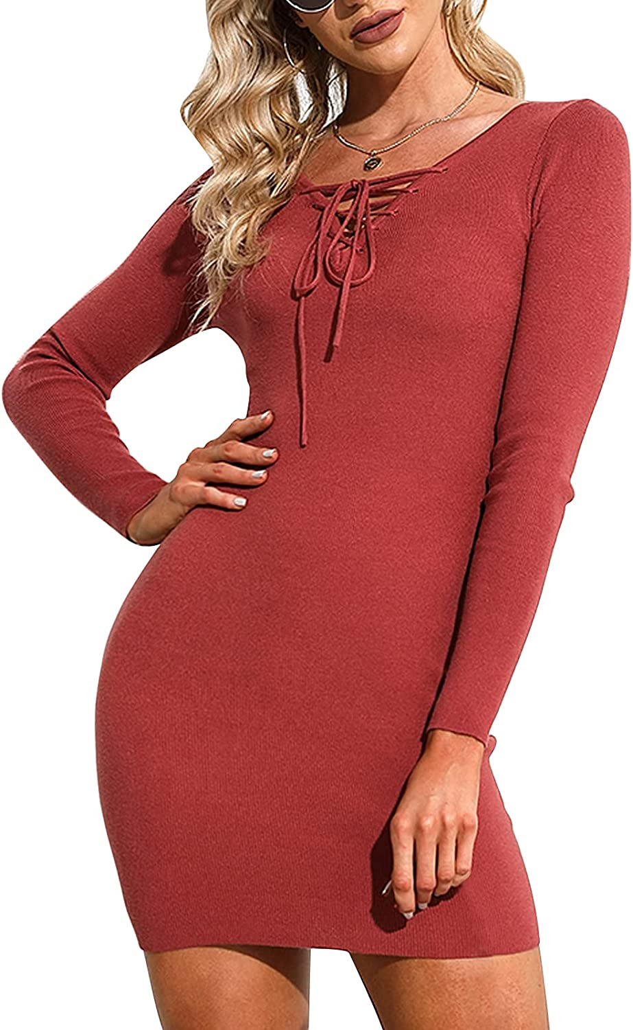 EXLURA Womens Sexy V Neck Knit Sweater Dresses Bodycon Long Sleeve Slim Fit Ribbed Knitted Mini Dress
