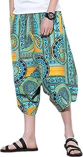 Infabe サルエルパンツ ワイドパンツ 総柄プリント ポケット ヒップホップ カジュアル 7分丈 ダンス スウェット 大きサイズ対応