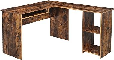 VASAGLE Scrivania a Forma di L, Tavolo ad Angolo con 2 Ripiani Portaoggetti, Vassoio Tastiera, per Studio, Ufficio, 140 x 120