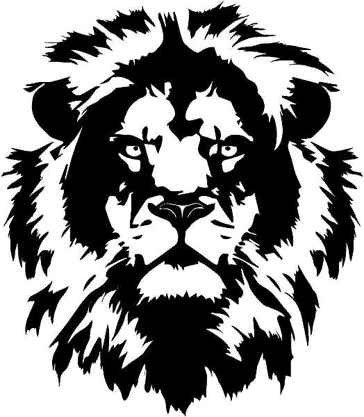 Newclew 狮子头脸细节凶猛的丛林之王男孩房间乙烯基墙贴花贴纸装饰