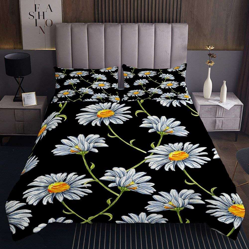 National products Daisy Flower White Print Coverlet Bl Chrysanthemum Quilted Popular shop is the lowest price challenge