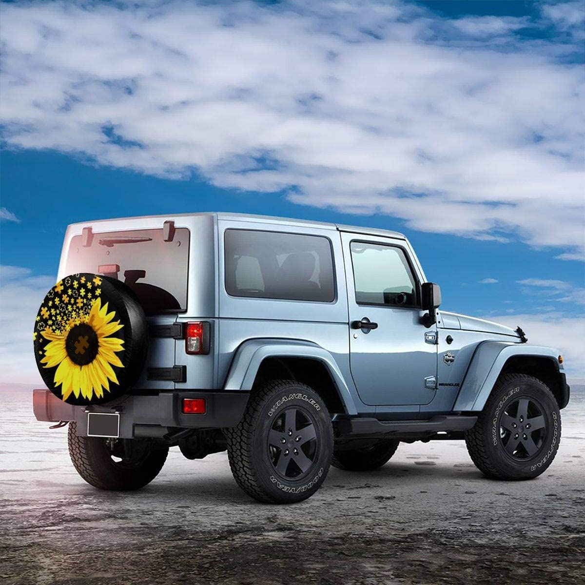 NELife Tire Cover Sunflower American Flag Spare Tire Cover Universal Wheel Covers Waterproof Tire Cover Fit for Jeep Trailer Rv SUV Truck Camper Travel Trailer Accessories 14-17 in