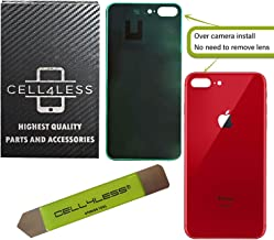 CELL4LESS Back Glass Replacement Compatible w/The iPhone 8 Plus Including Wide Camera Hole, Adhesive & Removal Tool (RED)
