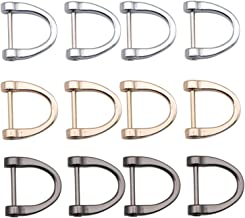 JETEHO Pack of 12 Loop D-Rings Screw in Shackle Semicircle D Ring for DIY Leather Craft Accessories, Silver Black and Gold