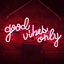Wall Sign Decor Neon Lights, Pink Night Light Party Beer Bar Pub Wall Decor Real Glass Tube Good Vibes Only 14