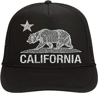 NeeNoNex California Bear Polyester Foam Front Mesh Back Trucker Hat (Black w. Wht Bear)