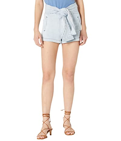 7 For All Mankind Trapunto Belted Shorts in Bianca Blue Women