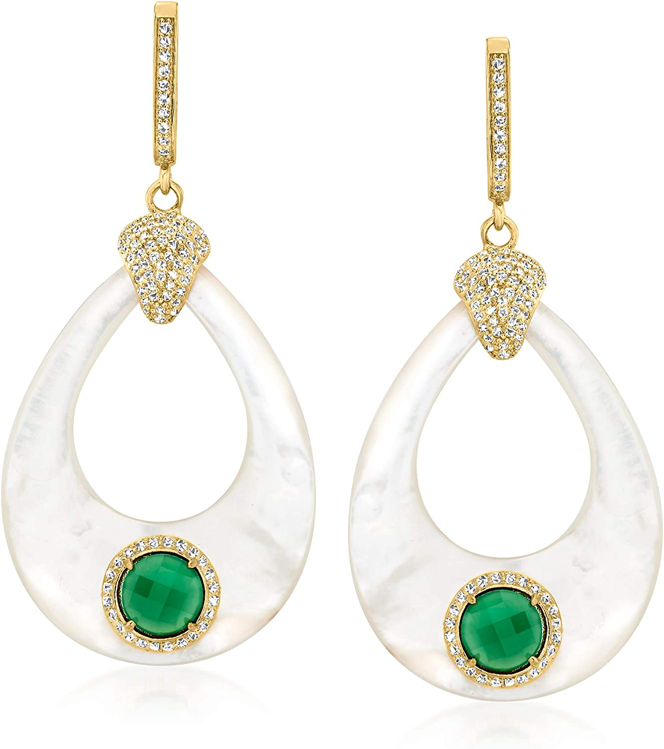 Ross-Simons Gorgeous Mother-Of-Pearl Houston Mall Green Agate 1.80 To White ct. t.w.