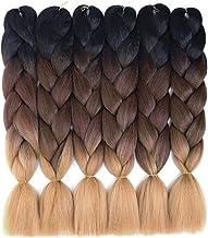 6 Pack Ombre Braiding Hair 100% Kanekalon Jumbo Braiding Hair 24 Inch Hair Extensions for Braiding (Black-Brown-Light Brown)