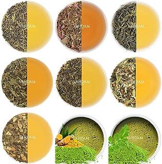VAHDAM, Green Tea Sampler - 10 TEAS, 50 SERVINGS   100% NATURAL INGREDIENTS   Detox Tea & Weight Loss   Gift for Him & Her...