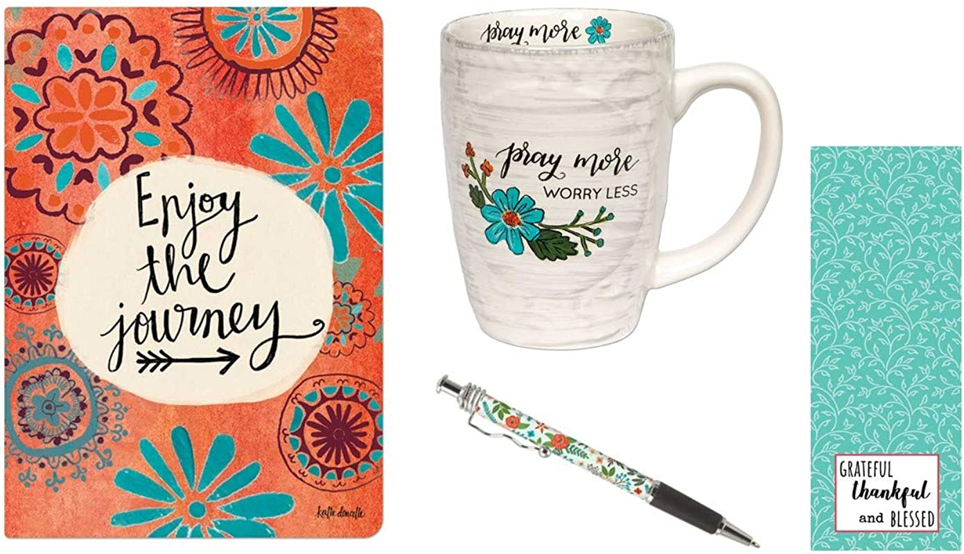 Pray More Coffee Mug Enjoy The Journey Journal White Floral Ink Pen With Bookmark Bundle