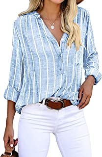 Yidarton Women's Long Sleeve V-Neck Stripes Casual Blouses Button Down Business Blouses Shirts