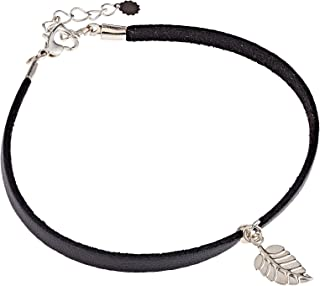 Alwan Faux Leather Medium Size Anklet with Leaf for Women - EE3723FBYSM