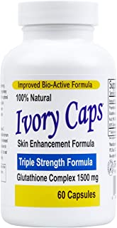 Ivory Caps – Maximum Potency 1500 mg Glutathione Skin Whitening Pills Complex, 60 Capsules
