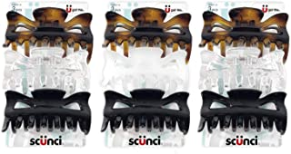 Scunci Effortless Beauty Basic Jaw Clips, Assorted Colors, 3-Count (3-Pack)