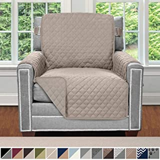 Sofa Shield Original Patent Pending Reversible Chair Slipcover, 2 Inch Strap Hook, Seat Width Up to 23 Inch Machine Washable Furniture Protector, Slip Cover Throw for Pets, Chair, Lt Taupe Lt Taupe