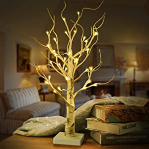 2FT Tabletop Lighted Birch Tree-32 Led Fairy Light Tree Lamp Battery or USB Powered, Artificial Birch Tree Light for Christmas Thanksgiving Halloween Fall Wedding Table Decorations Home Indoor