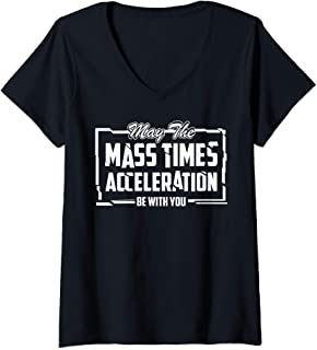 Womens May The Mass Times Acceleration Be With You Art Force Gift V-Neck T-Shirt