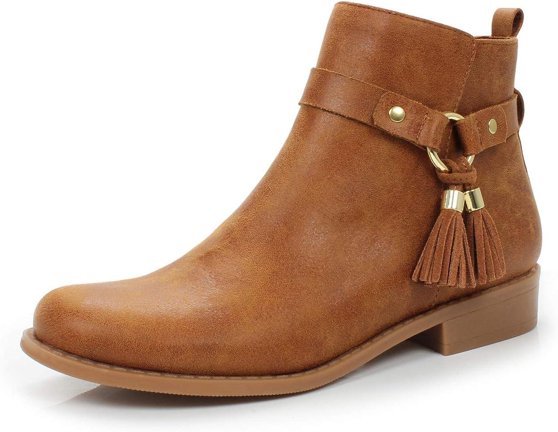 FOOTSELF DUNION Women's Bess Comfortable Zip Closure Tassel Chunky Heel Ankle Casual Booties