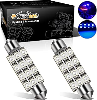 Partsam 42mm Festoon LED Light Bulbs Car LED Interior Lights Dome Map Lights Bulbs 211-2 578 569 Festoon LED Bulb - Blue (2 Pcs)