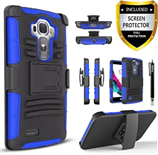 LG G4 Case, Dual Layers [Combo Holster] Phone Cover and Built-in Kickstand Bundled with [HD Screen Protector] Hybird Shockproof and Circlemalls Stylus Pen for LG G4 (Blue)