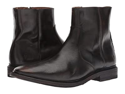 Frye Paul Inside Zip (Black Brush-off Full Grain) Men