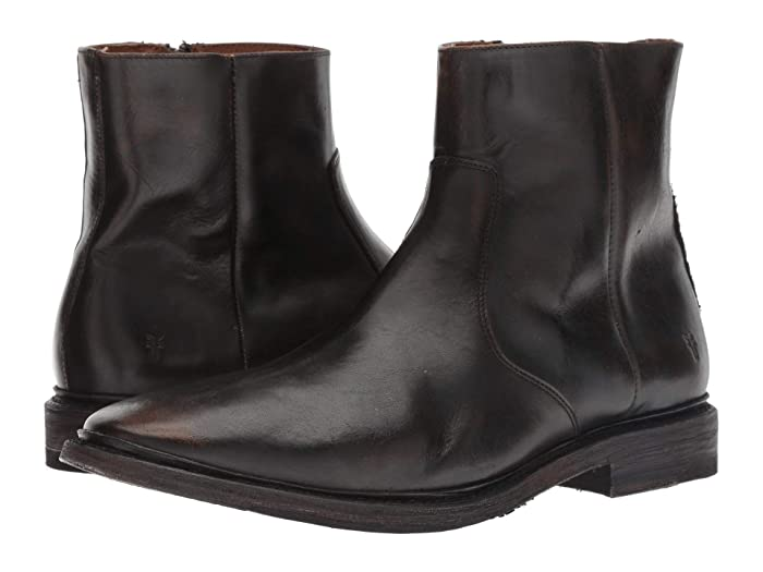 Mens Retro Shoes | Vintage Shoes & Boots Frye Paul Inside Zip Black Brush-off Full Grain Mens Zip Boots $239.99 AT vintagedancer.com