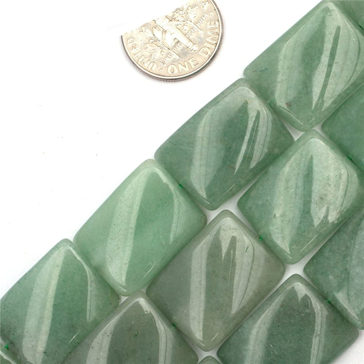 GEM-inside 15x20mm Twist Rectangle Aventurine Jade Jewelry Making Gem Round Loose Beads Findings Accessories Strand 15 Inches