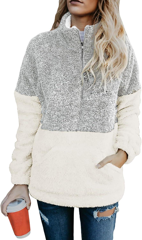 Chase Secret Womens Long Sleeve Zip Sweatshirt Fleece Pullover Outwear Coat with Pockets(S-XXL)