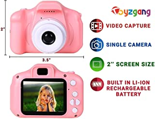 TOYZGANG Cute Mini 2.0 Inch Color IPS Screen 8MP Digital Selfie Camera Toys for Kids, Rechargeable HD Children Video Record Camera for Boys Girls Age 3-10 Birthday, Gift (Pink)