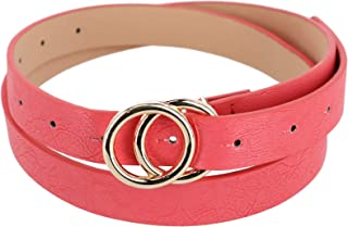 CTM Women's Belt with Double Circle Buckle