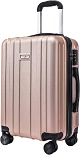 CarryOne Super Lightweight ABS Hard Shell Travel Carry On Cabin Hand Luggage Suitcase with 4 double Spinner Wheels 2 Year Warranty TD3-Gold