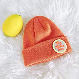 ZiWen Lu Short Paragraph Letter Posted Cloth hat Knitted Wool Cap Men and Women Fall and Winter Shopping Warm Hats Candy Color Stretch Parent-Child (Color : Orange, Size : One Size)
