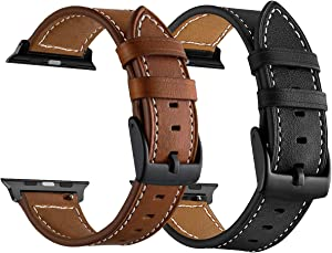 LDFAS Compatible for Apple Watch Band 45mm 44mm 42mm, (Large) Leather Watch Strap with Black Buckle Compatible for Apple Watch SE, Apple Watch Series 7/6/5/4/3 Smartwatch,Brown+Black (2 Pack) M/L
