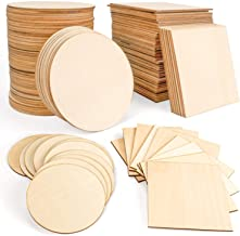 JamBer 100 Pcs Wood Slices 4x4 Inch Unfinished Wood Pieces for DIY Coasters Arts and Crafts School Projects Home Wall Deco...