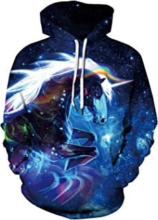 Unisex Pullover Colorful 3D Hoodie Galaxy Sweatshirt for Men and Women Cool Graphic Prints Sweater with Big Pocket
