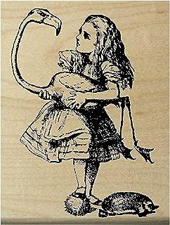 P13 Alice in Wonderland with Flamingo Croquet Rubber Stamp