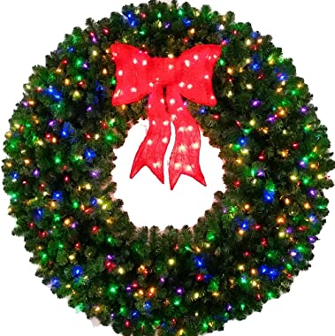 5 Foot Multi Color L.E.D. Christmas Wreath with Pre-lit Red Bow - 60 inch - 400 LED Lights - Indoor - Outdoor
