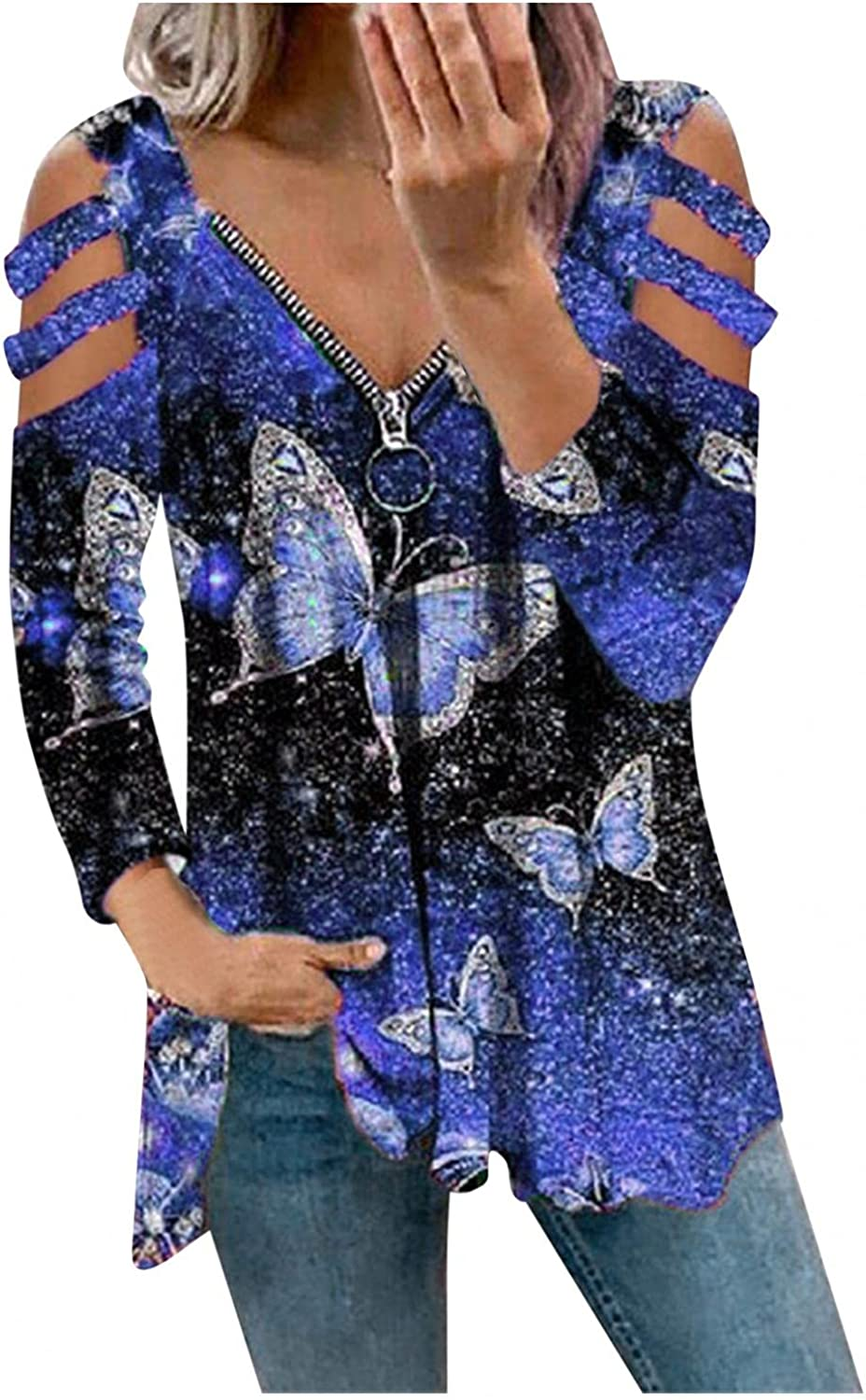 HCNTES Long Sleeve Shirts for Women,Casual V Neck Sweatshirts Cold Shoulder Blouse Butterfly Print Zip Up Tops