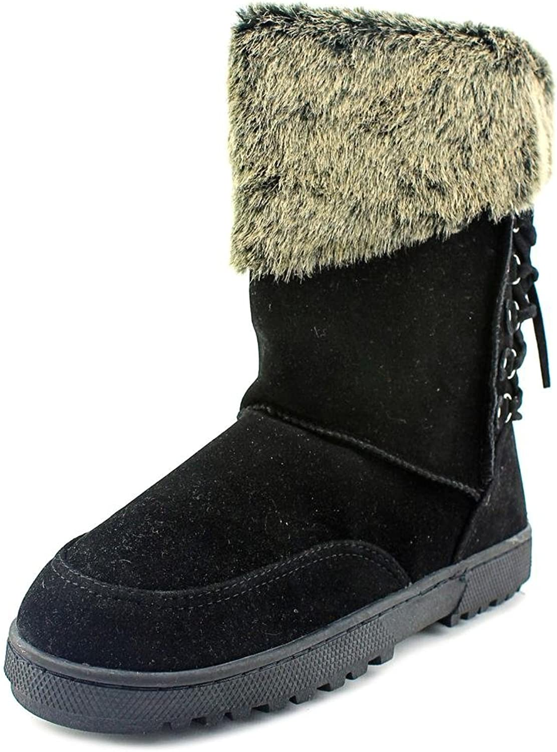 Rampage Womens Areya Faux Fur Closed Toe Mid-Calf Cold Weather, Black, Size 8.5
