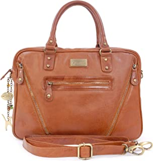 Catwalk Collection Handbags - Leder - Schultasche/Arbeitstasche/Aktentasche für Damen - Laptop/iPad - Vintage Leder - SIENNA