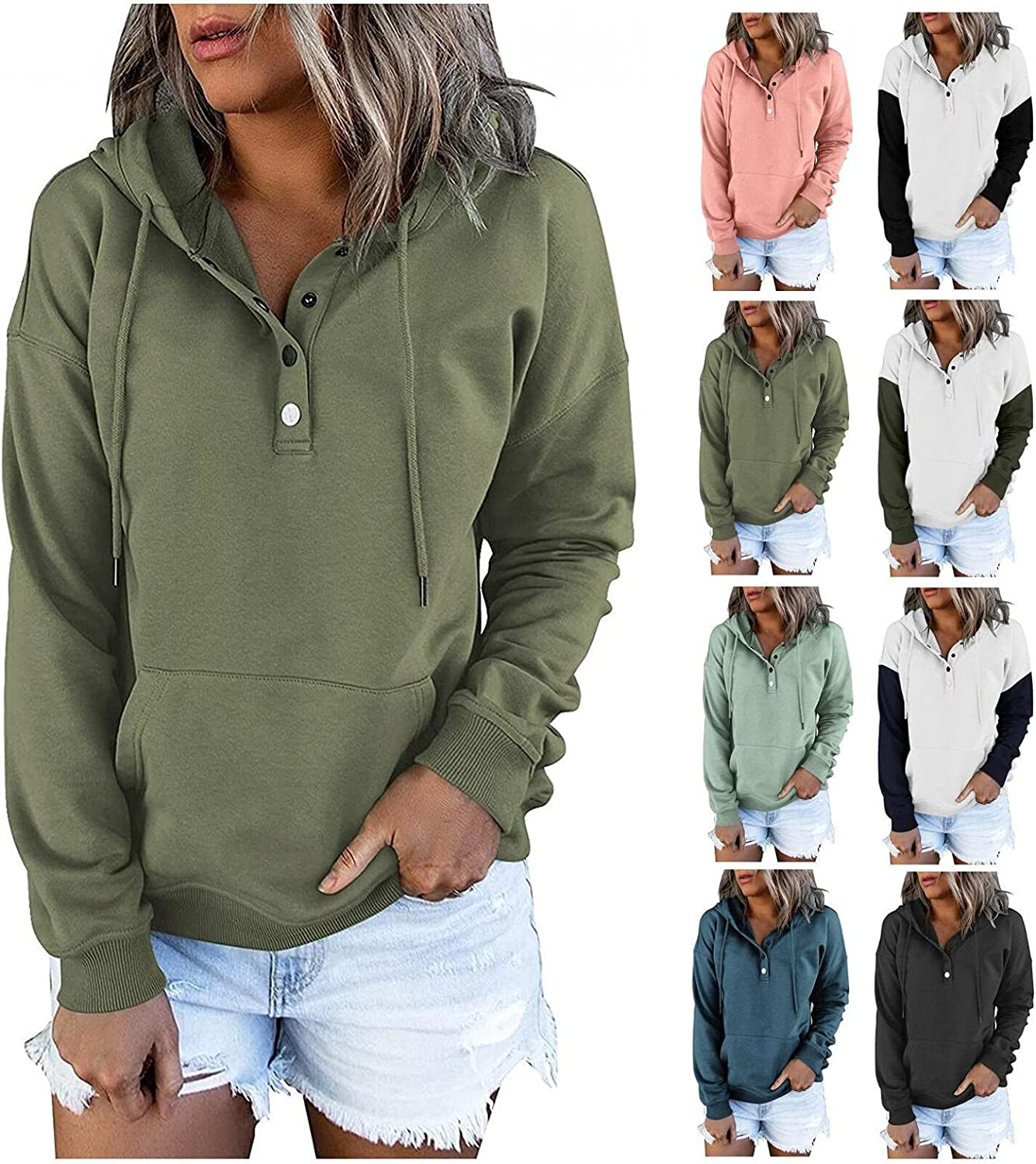 Haheyrte Hoodies for Women Button Down Color Block Long Sleeve Casual Sweatshirts with Pocket Pullover Tops Pullover Sweater