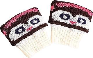 Vobery, Abucheopuños T,Mujeres Invierno Dibujos Animados Estampado Crochet Botas Puños Invierno Cable Tejido Calentadores de Piernas Botas Topper Calcetines