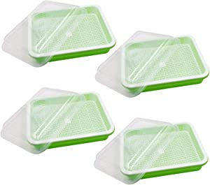 Seed Sprouter Tray with Lid 4 Pack, BPA Free Seed Germination Tray Home Garden Office Microgreen Soilless Hydroponics Seed Sprouter Grow Tray with Cover