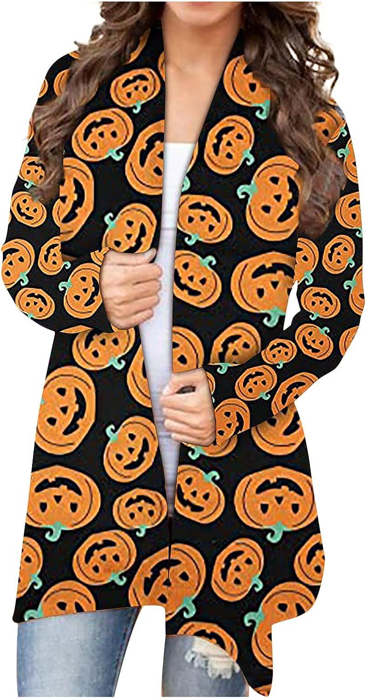 Womens Halloween Pumpkin Cat Bat Cardigan Long Sleeve Open Front Sweatshirt Cute Funny Coat Gifts Plus Size