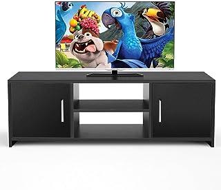 Homfa Mueble TV Salón Mesa para TV Mesa Baja para Televisor Receptor Reproductor DVD con 2 Puertas 1 Estante Negro 110x35x...