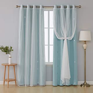 Deconovo Mix and Match Curtain 2 Piece Raindrop Printed Blackout Curtains Panels Sky Blue and Tulle Lace White Sheer Curtains for Living Room with Grommet Top 4 Curtain Panel 52W x 84L Inch